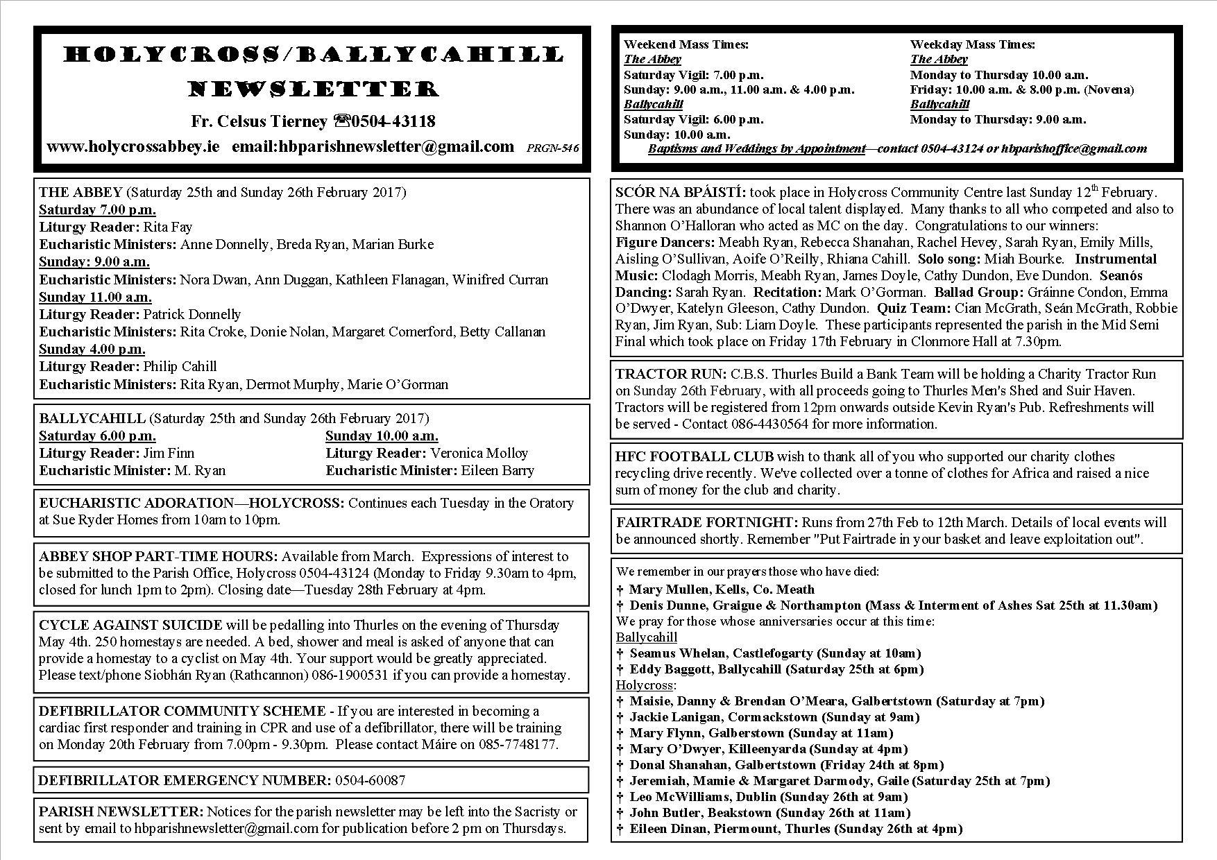 Parish Newsletter – 19th February 2017 – Holycross Ballycahill