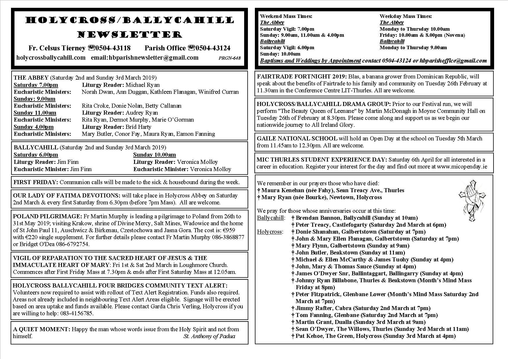 Parish Newsletter 24th February 2019 – Holycross Ballycahill